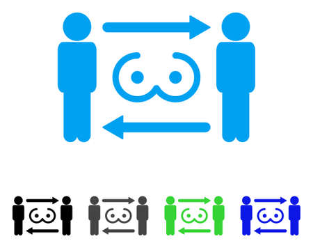 Swingers Exchange icon. Vector illustration style is a flat iconic swingers exchange symbol with black, grey, green, blue color variants. Designed for web and software interfaces.