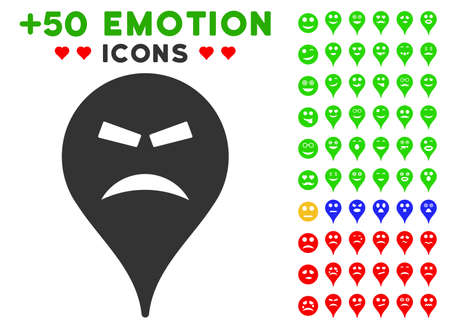 Furious Smiley Map Marker pictograph with bonus emotion icon set. Vector illustration style is flat iconic elements for web design, app user interfaces.