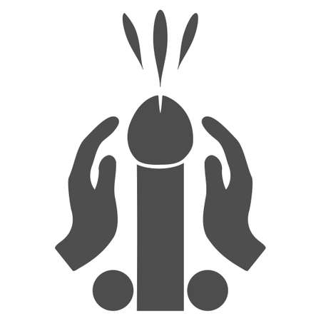 Blowjob Ejaculation vector pictogram. Style is flat graphic gray symbol.