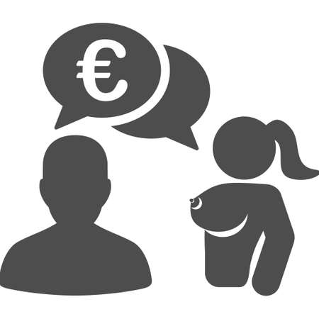 Euro Adult Chat vector pictogram. Style is flat graphic gray symbol.