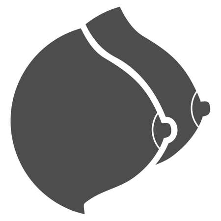 Female Tits vector pictogram. Style is flat graphic gray symbol.