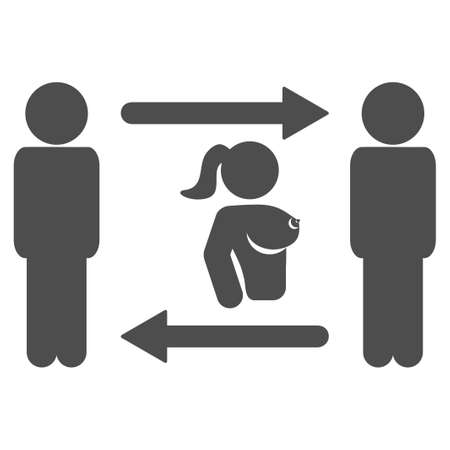 Swingers Exchange Girl vector pictograph. Style is flat graphic gray symbol.