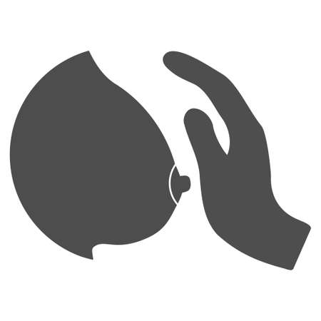 Touch Female Breast vector pictogram. Style is flat graphic gray symbol.