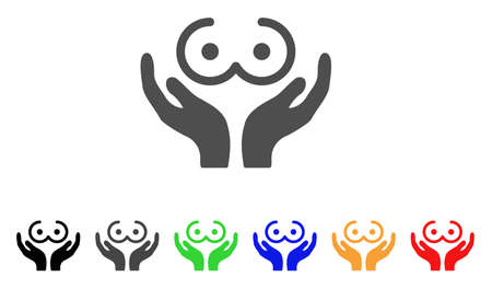 Female Tits Care Hands icon. Vector illustration style is a flat iconic female tits care hands symbol with black, gray, green, blue, red, orange color versions.