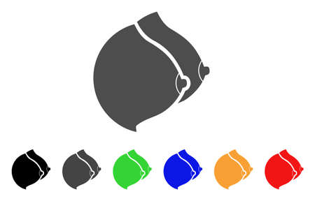 Female Tits icon. Vector illustration style is a flat iconic female tits symbol with black, grey, green, blue, red, orange color additional versions. Designed for web and software interfaces.