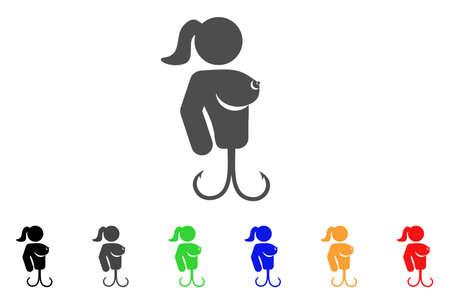 Hooker Lady-pictogram. Vectorillustratiestijl is een plat iconisch damessymbool met zwarte, grijze, groene, blauwe, rode, oranje kleurenvarianten. Ontworpen voor web- en software-interfaces.