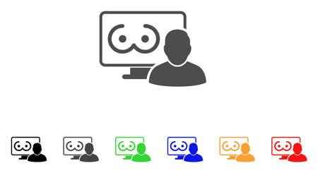 Online Erotics Viewer User icon. Vector illustration style is a flat iconic online erotics viewer user symbol with black, gray, green, blue, red, orange color variants. Иллюстрация