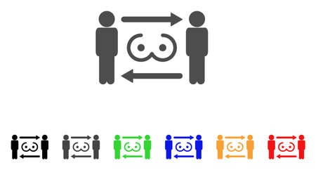 Swingers Exchange icon. Vector illustration style is a flat iconic swingers exchange symbol with black, grey, green, blue, red, orange color versions. Designed for web and software interfaces.
