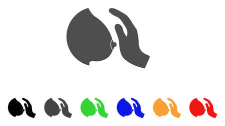 Touch Female Breast icon. Vector illustration style is a flat iconic touch female breast symbol with black, grey, green, blue, red, orange color versions. Designed for web and software interfaces.