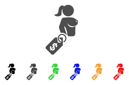 Prostitute Price Tag icon. Vector illustration style is a flat iconic prostitute price tag symbol with black, gray, green, blue, red, orange color versions. Designed for web and software interfaces.