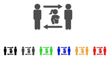 Swingers Exchange Girl icon. Vector illustration style is a flat iconic swingers exchange girl symbol with black, grey, green, blue, red, orange color variants. Иллюстрация