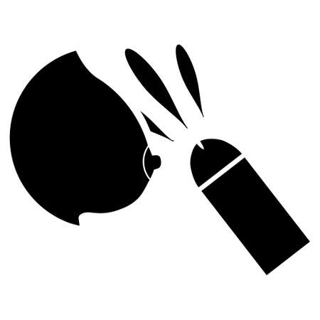 Female Breast Sperm Ejaculation vector icon. Style is flat graphic black symbol.