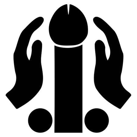 Penis-Masturbationsvektorikone. Stil ist flaches grafisches schwarzes Symbol.