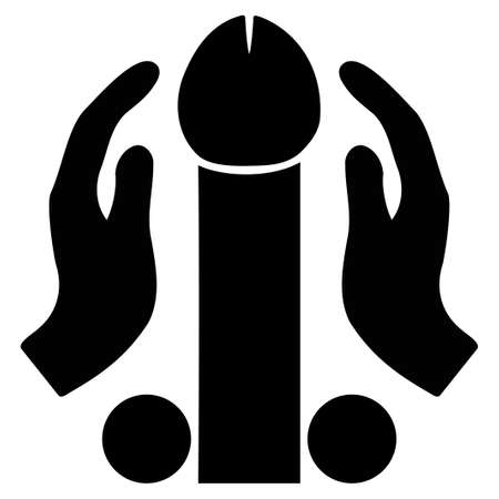 Penis Masturbation vector icon. Style is flat graphic black symbol.