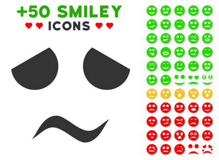 Sad Worried Smile pictograph with bonus emoticon images. Vector illustration style is flat iconic symbols for web design, app user interfaces. Ilustrace