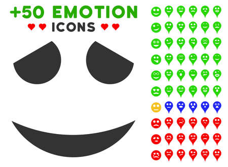 Embarrassed emoticon pictograph with bonus mood images in flat iconic symbols for web design, app user interfaces.