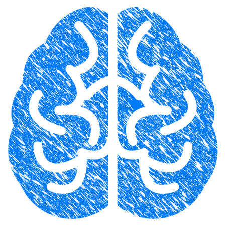 Grunge Brain icon with grunge design and dirty texture. Unclean vector blue pictogram for rubber seal stamp imitations and watermarks. Draft emblem symbol.