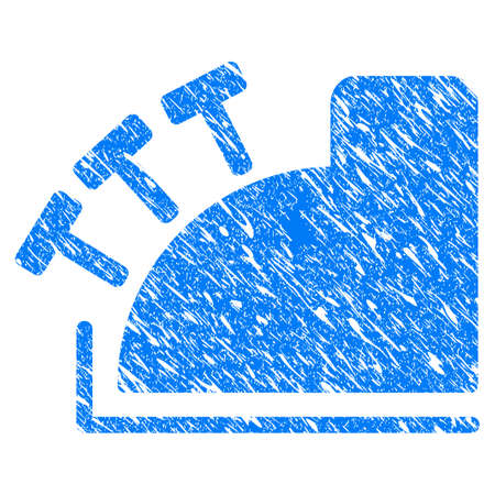 Grunge Cash Register icon with grunge design and scratched texture. Unclean vector blue pictogram for rubber seal stamp imitations and watermarks. Draft sign symbol.