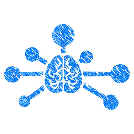 Grunge Mind Control Links icon with grunge design and unclean texture. Unclean vector blue pictogram for rubber seal stamp imitations and watermarks. Draft sign symbol.