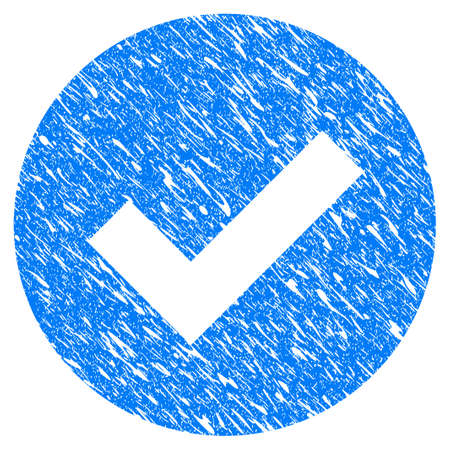 seal of approval: Grunge Ok icon with grunge design and dirty texture. Unclean vector blue pictogram for rubber seal stamp imitations and watermarks. Draft emblem symbol.