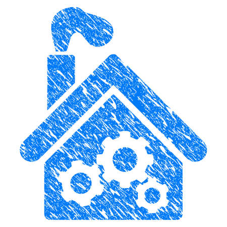 garage: Grunge Smoking Garage Factory icon with grunge design and scratched texture. Unclean vector blue pictogram for rubber seal stamp imitations and watermarks. Draft sticker symbol. Illustration