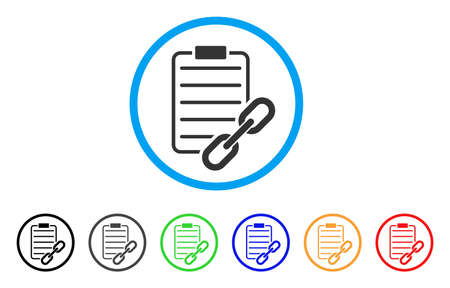 ratification: Blockchain Contract icon. Vector illustration style is a flat iconic blockchain contract grey rounded symbol inside light blue circle with black, gray, green, blue, red, orange color versions. Illustration