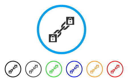 encode: Lock Blockchain icon. Vector illustration style is a flat iconic lock blockchain grey rounded symbol inside light blue circle with black, gray, green, blue, red, orange color variants.