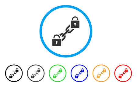 Lock Blockchain icon. Vector illustration style is a flat iconic lock blockchain grey rounded symbol inside light blue circle with black, gray, green, blue, red, orange color additional versions. Illustration