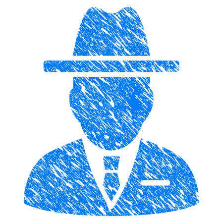Grunge Spy Person icon with grunge design and dust texture. Unclean raster blue pictogram for rubber seal stamp imitations and watermarks. Draft sticker symbol. Stock Photo