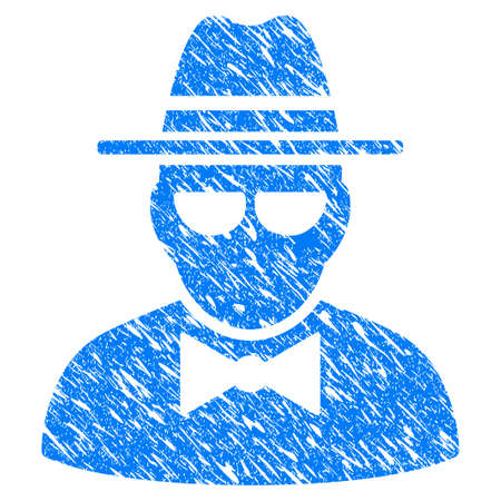 Grunge Secret Agent icon with grunge design and dirty texture. Unclean vector blue pictogram for rubber seal stamp imitations and watermarks. Draft sign symbol. Banco de Imagens - 85981332