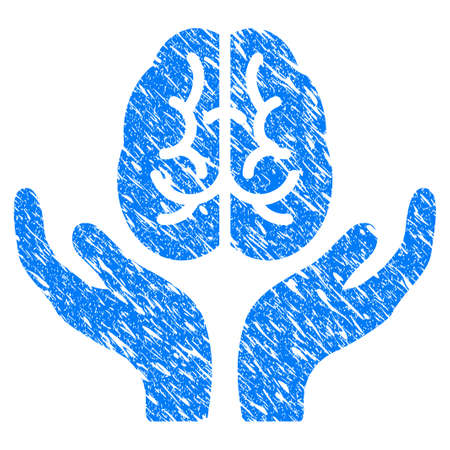 Brain Care Hands flat raster pictogram. Colored brain care hands, gray, black, blue, green icon variants. Flat icon style for application design.