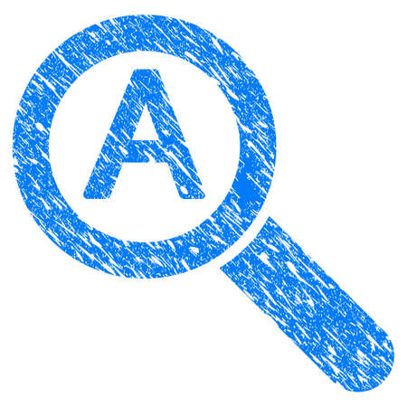 auto focus: Grunge Zoom Auto Scale icon with grunge design and unclean texture. Unclean vector blue pictogram for rubber seal stamp imitations and watermarks. Draft sign symbol. Illustration