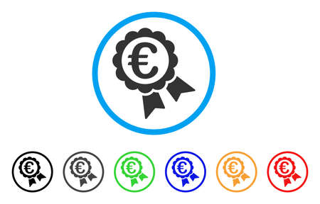 seal of approval: Euro Guarantee Seal icon. Vector illustration style is a flat iconic euro guarantee seal gray rounded symbol inside light blue circle with black, gray, green, blue, red, Illustration