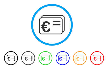 Euro Account Cards icon. Vector illustration style is a flat iconic euro account cards grey rounded symbol inside light blue circle with black, gray, green, blue, red, orange color versions.
