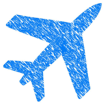 Grunge Airplane icon with grunge design and unclean texture. Unclean raster blue airplane pictogram for rubber seal stamp imitations and watermarks. Draft sign symbol.