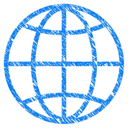 Grunge Globe icon with grunge design and dirty texture. Unclean raster blue globe pictogram for rubber seal stamp imitations and watermarks. Draft sticker symbol.