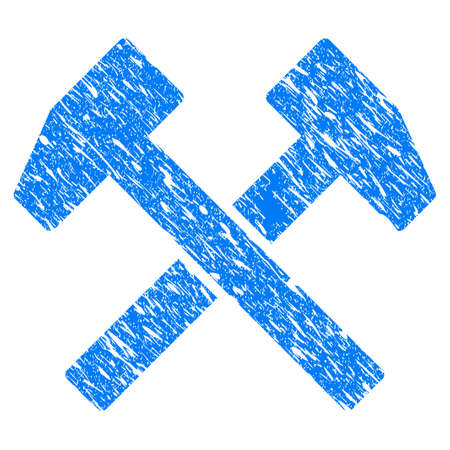 Grunge Work Hammers icon with grunge design and unclean texture. Unclean raster blue work hammers pictogram for rubber seal stamp imitations and watermarks. Draft sign symbol. Stock Photo