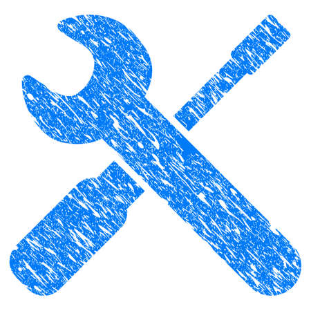 Grunge Wrench And Screwdriver Tools icon with grunge design and scratched texture. Unclean raster blue wrench and screwdriver tools pictogram for rubber seal stamp imitations and watermarks. Stock Photo