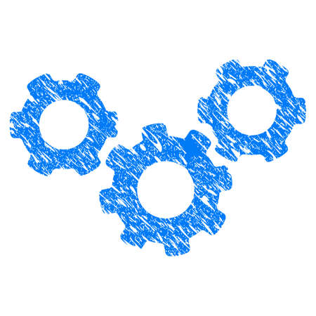 gears: Grunge System Gears icon with grunge design and dust texture. Unclean vector blue system gears pictogram for rubber seal stamp imitations and watermarks. Draft emblem symbol.