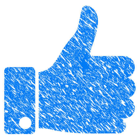 Grunge Thumb Up icon with grunge design and unclean texture. Unclean vector blue thumb up pictogram for rubber seal stamp imitations and watermarks. Draft sign symbol. Illustration