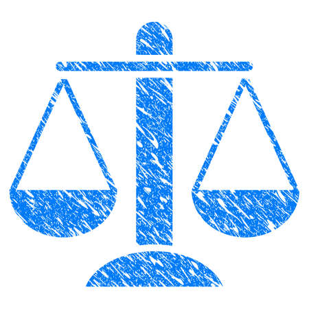 scale of justice: Grunge Weight Scales icon with grunge design and dust texture. Unclean vector blue weight scales pictogram for rubber seal stamp imitations and watermarks. Draft sticker symbol.