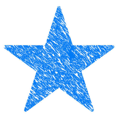 Grunge Star icon with grunge design and dust texture. Unclean vector blue star pictogram for rubber seal stamp imitations and watermarks. Draft emblem symbol.
