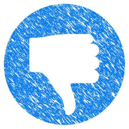 Grunge Thumb Down icon with grunge design and dust texture. Unclean vector blue thumb down pictogram for rubber seal stamp imitations and watermarks. Draft sticker symbol.