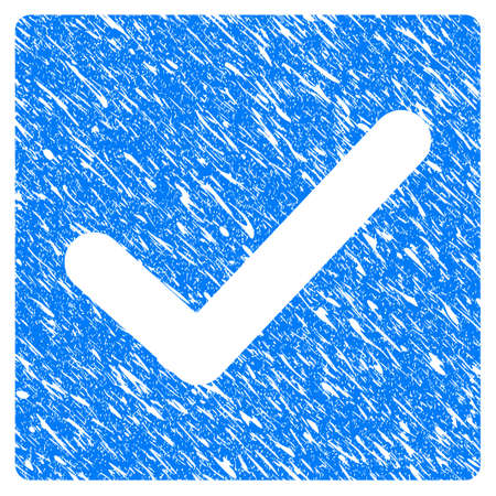 Grunge Valid Tick icon with grunge design and dust texture. Unclean vector blue valid tick pictogram for rubber seal stamp imitations and watermarks. Draft sign symbol. Illustration