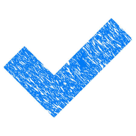seal of approval: Grunge Yes Tick icon with grunge design and unclean texture. Unclean vector blue yes tick pictogram for rubber seal stamp imitations and watermarks. Draft sign symbol.