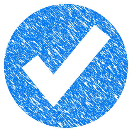 seal of approval: Grunge Ok icon with grunge design and dirty texture. Unclean raster blue ok pictogram for rubber seal stamp imitations and watermarks. Draft sign symbol. Stock Photo