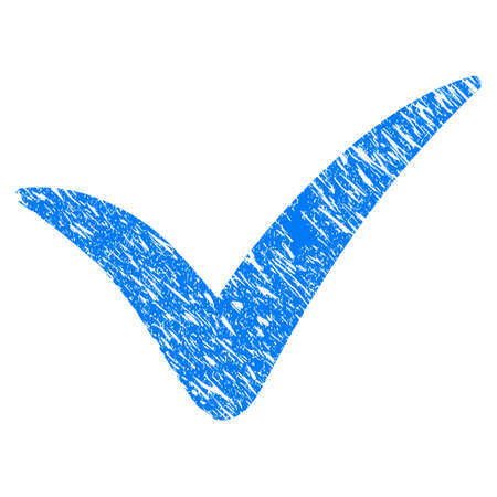 validation: Grunge Yes icon with grunge design and dirty texture. Unclean raster blue yes pictogram for rubber seal stamp imitations and watermarks. Draft emblem symbol. Stock Photo