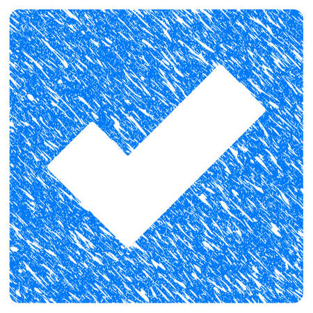Grunge Check icon with grunge design and dirty texture. Unclean vector blue check pictogram for rubber seal stamp imitations and watermarks. Illustration