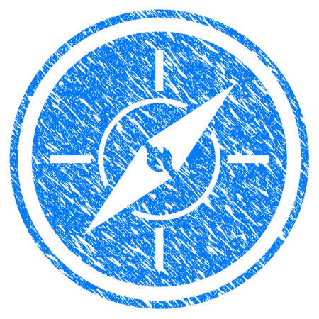 Grunge Compass icon with grunge design and unclean texture. Unclean vector blue compass pictogram for rubber seal stamp imitations and watermarks.