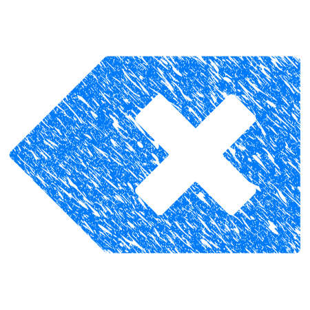 Grunge Backspace icon with grunge design and unclean texture. Unclean vector blue backspace pictogram for rubber seal stamp imitations and watermarks.
